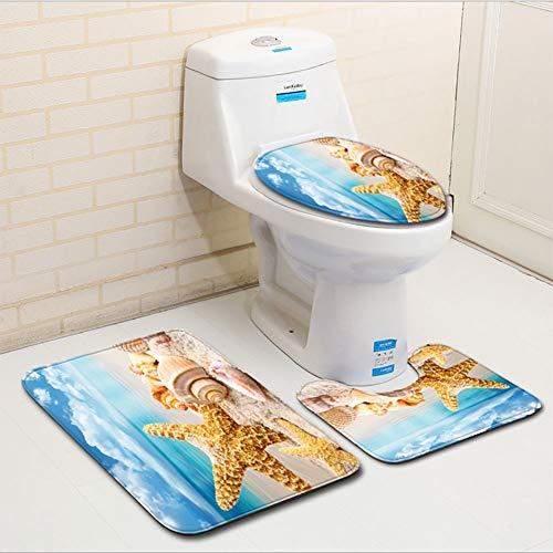 LTJY 3-delige badkamer tapijt-strand schelp zee collectie anti-slip bad mat zacht absorberend tapijt contour matten voetstuk deksel