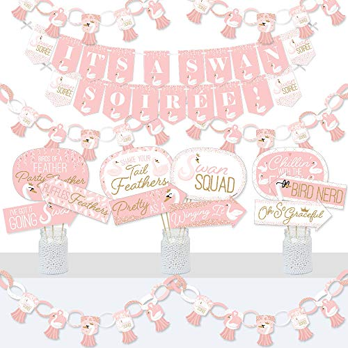 Big Dot of Happiness Swan Soiree - Banner and Photo Booth Decorations - White Swan Baby Shower or Birthday Party Supplies Kit - Doterrific Bundle