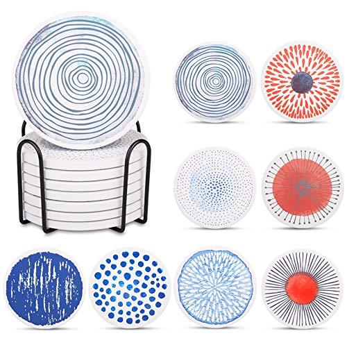 Liesun Coaster 8er Set mit Halter, Keramik Untersetzer mit Korkbasis, untersetzer, Premium Design Untersetzer, Absorbierenden Saugfähige Untersetzer, Coasters for Drinks