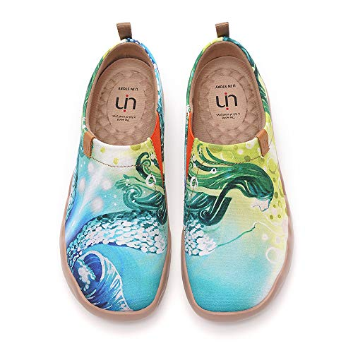 UIN Women s Flats Canvas Lightweight Slip Ons Sneakers Walking Casual Art Painted Travel Shoes Mermaid Green (40)