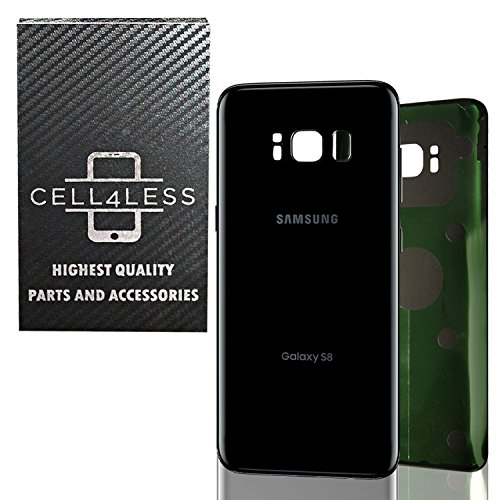 CELL4LESS Replacement Back Glass Cover Back Battery Door w/Pre-Installed Adhesive Samsung Galaxy S8 OEM - All Models G950 All Carriers- 2 Logo - OEM Replacement (Midnight Black)