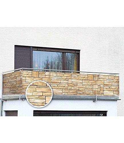 WENKO Sichtschutz Mauer - für Balkon und Terrasse, Polyethylen, 85 x 500 cm, Mehrfarbig
