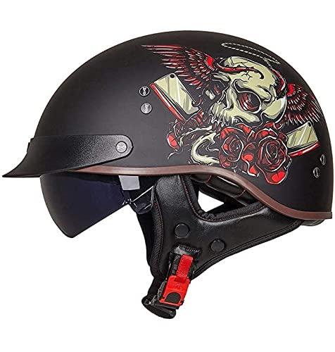 Casco Medio de Moto Vintage Motocicleta Cara Abierta Retro Mofa Bobber Scooter Cruiser Jet Respirable Touring Hard Hat Forro de Oreja Lente incorporada ECE Homologado 4,M