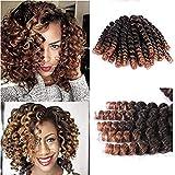 Furice - Extensions de cheveux courts - Tresses au crochet - En spirale, rebondissantes - Coiffure afro - Petites boucles - Fibres synthétiques Kanekalon - 20brins par article (20,3cm)