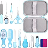 Baby Healthcare and Grooming Kit 12 in 1 Portable Baby Safety Care Set, Hair Brush Comb Nail Clipper Nasal Aspirator Baby Thermometer Set for Nursery Newborn Infant Girls Boys Keep Clean (Blue)