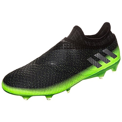 Messi 16+ Pure Agility FG Football Boots - Dark Grey/Silver Metallic/Solar Green - Size 11