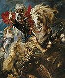 Cartel del Museo del Prado 'Lucha de san Jorge y el dragón-Rubens'