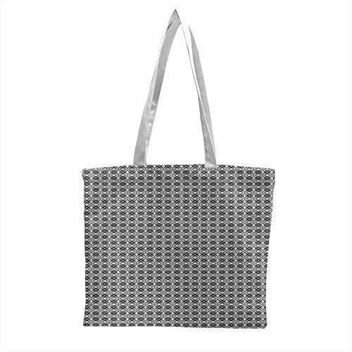 canvas totes bulk,Grey Simple Repetitive Floral Motifs with Diamond Shapes in Retro Style,Canvas Grocery Shopping Bags with Handles Charcoal Grey Pale Grey White
