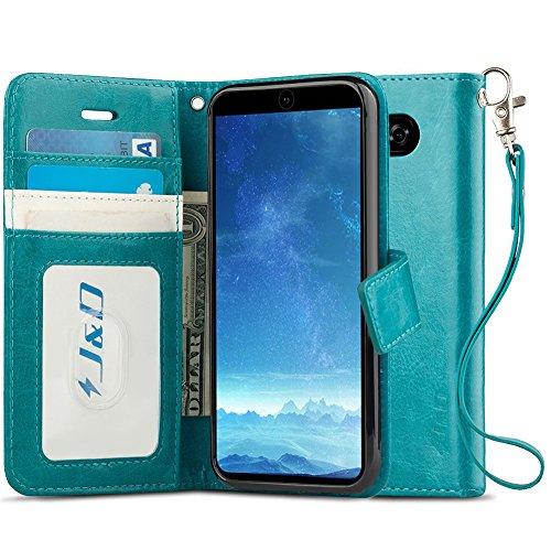 JundD Kompatibel für LG V35/LG V30S/LG V30S ThinQ/LG V30/LG V30 Plus Leder Hülle, [Handytasche mit Standfuß] [Slim Fit] Robust Stoßfest PU Leder Flip Handyhülle Tasche Hülle für LG V35 Hülle - Türkis