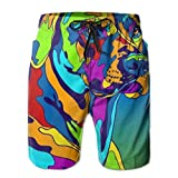 YongColer Mens Beach Shorts Quick Dry Surfing Swim Trunks with Pockets(Colorful Rhodesian Ridgeback Dog) White