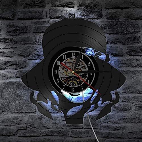 Reloj de pared de vinilo con luz LED de 7 colores, bonito adorno para niña, hecho a mano, para pared, decoración del hogar, vintage, regalo para ella