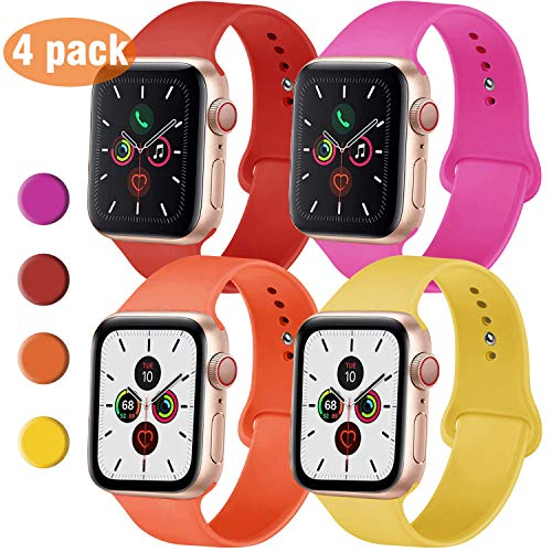 QIENGO 4 Pack Sport Bands Compatible with Apple Watch Band 42mm 44mm, Soft Silicone Replacement Band Compatible with iWatch Series 5/4/3/2/1, M/L,Hot Pink/Red/Yellow/Apricot