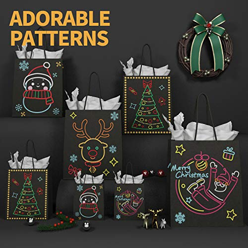 KD KIDPAR Christmas Gift Bags Glow in Dark Design 24 Bags in 4 Different Designs, 8 Large, 8 Medium, 8 Small & 24 Tissue Papers for Christmas Holiday Party