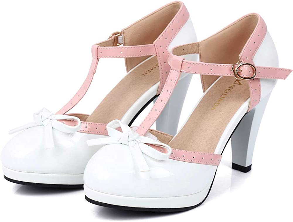 Robasiom Women's T Max 75% OFF Strap Bow Mary Janes Closed Max 85% OFF Toe Round Pu