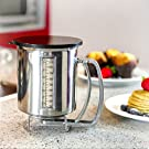Newest Improved Pancake Batter Dispenser with Lid-Stainless Steel-Professional Kitchen Tool-Great for Baking,Cupcakes,Muffins-Cooking Crepes,Waffles- Easyflow Spout -Measuring Gauge in Mls and cups. #4