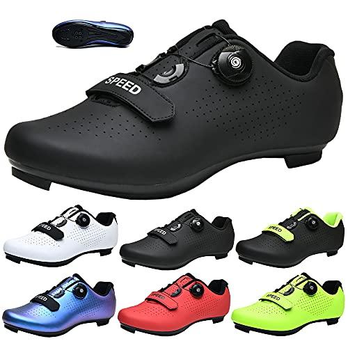 KUXUAN Zapatillas de Ciclismo para Hombre y Mujer - Spin Shoestring con Tacos Compatibles Peloton Shoe Lock Pedal Bike Shoes,Black+Green-4UK=(235mm)=37EU