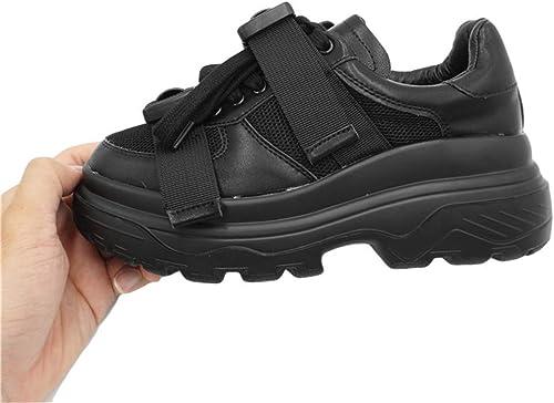 ZHRUI Hauszapatos de Deporte para mujer Casual Deportes al Aire Libre con Cordones blanco, negro y rojo Hauszapatos de Correr para mujer (Color   negro, tamaño   8=38 UK)