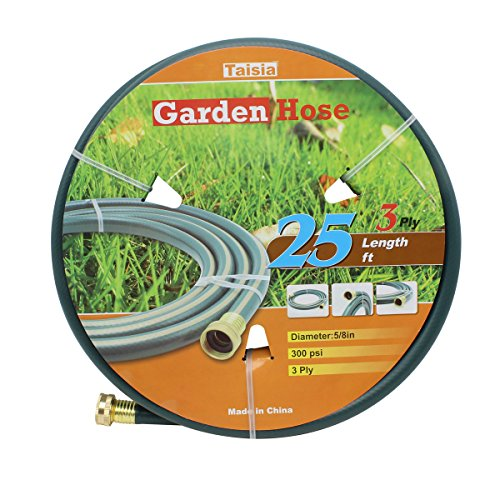 """Taisia PVC Garden/Farm/Water Hose 5/8""""-25ft/15ft/25ft-3PLY Great for Gardens/Farm and Ranch (25 FT) …"""