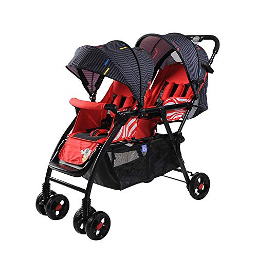 Fantastic Prices! BO LU Double Strollers Double Seats for Twins Foldable Can Sit and Lie with Awning...