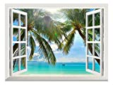 wall26 Removable Wall Sticker/Wall Mural - Beautiful Sunny Beach on a Tropical Island with Palm...
