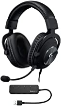 Logitech G Pro X Gaming Headset with Blue Voice Technology and Knox Gear USB Hub (2 Items)