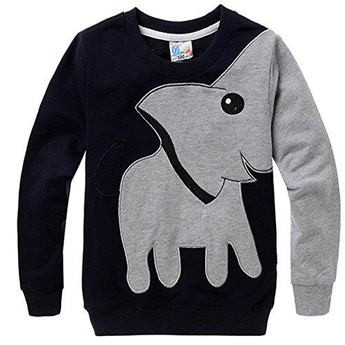 Jungen Kinder Sweatshirt Elefant Baumwolle T Shirts Pullover Tops schwarz DE 92