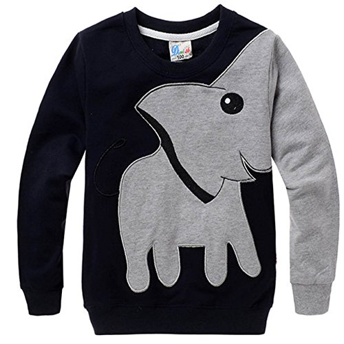 COCM10 Little Boys Jumpers Kids Elephant Sweaters Sweatshirt Pullover Clothing Shirts Casual Tops Cotton Tee, Black, 2-3 Years