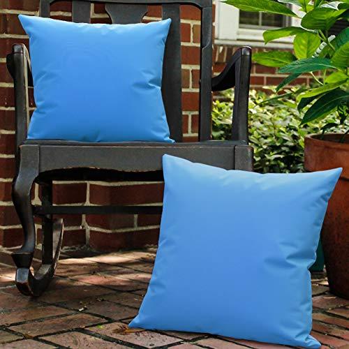 Lewondr Funda de Almohada de PU Impermeable al Aire Libre, [2 PZS] Funda de Cojín Cuadrada, Resistente al Agua con Revestimiento de PU Protección UV para Jardín Patio Sofá Balcón, 45x45cm - Azul