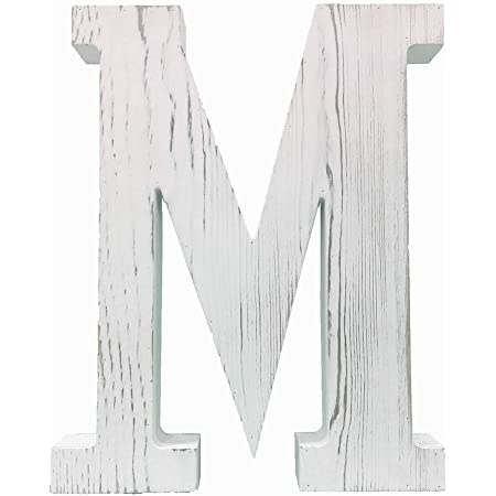 W Extra Large Wood Decor Letters Wood Distressed White Letters DIY Block Words Sign Alphabet Free Standing Hanging for Home Bedroom Office Wedding Party