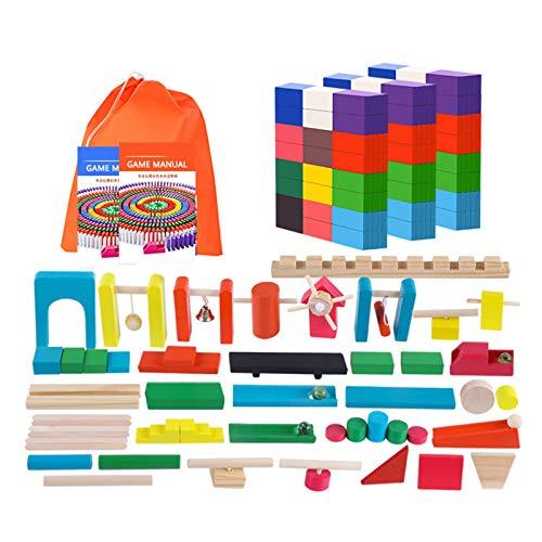 Tollk Lesse Domino 360 Piezas De Madera Conjunto De Colores Bloques del Dominó con 32 Accesorios Y 2 Juego Ayuda Manuales, ReunióN Kits De Edificio para Adultos Y NiñOs De Carreras NiñOs Y NiñAs
