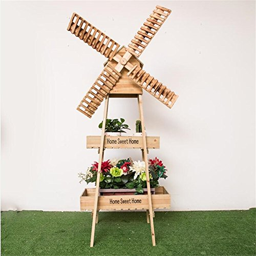 Créatif en bois Windmill forme fleur porte/Stand antiseptique mode fleur Pot Display pour balcon salon jardin