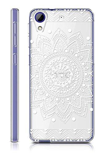 Sunrive HTC Desire 650/628 / 626 / 626G Hülle Silikon, Transparent Handyhülle Schutzhülle Etui Case Backcover für HTC Desire 650/628 / 626 / 626G(TPU Blume Weiße)+Gratis Universal Eingabestift