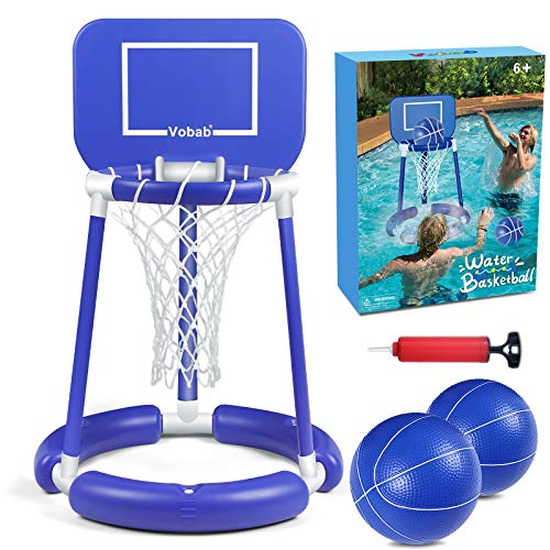 Pool Basketball Hoop, Floating Pool Basketball Game for Kids & Adults, Swimming Pool Party Game Toys for Summer Outdoor Water Sport, Super Hoops Floating Basketball Game Set with 2 Balls and Hand Pump