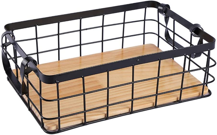 Cabilock Metal Wire Storage Basket with Handle Wood Base Storage