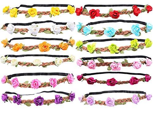 WTB 12 Pièces Femmes Filles Fleur Fée Bohemian Braid mariage de plage Tiara Couronne cheveux bandeau (12pcs couleur mixte)