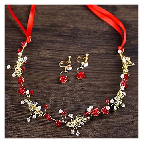 feilai Pendientes de diadema de perlas rojas para novia, accesorios para el cabello de boda, pasadores de oro para mujer, diadema (color metálico: como se muestra)