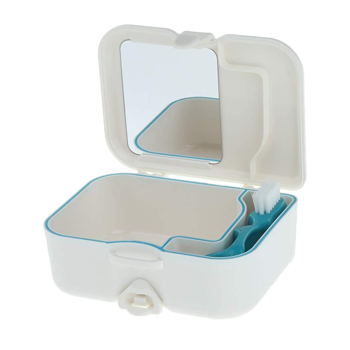 センブランスドロップ毛皮FLAMEER 義歯ボックス 収納ケース ミラー ブラシ付 便利