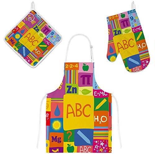 My Daily Delantal de cocina con bolsillos, guante de horno y soporte para ollas, delantal ajustable ABC Chemistry Doodle, guante de microondas, agarrador de 3 piezas, juego de regalo de cocina