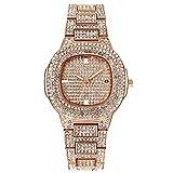 Reloj De Cuarzo Diamante Reloj De Caballero Wish Trend Aleación De Moda con Reloj De Cuarzo Reloj De Explosión Rosa Dorada Mujer (Pequeño)