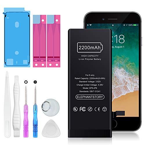 ElephantStory Batería para iPhone 6, Gran Capacidad, 2200 mAh, batería de Repuesto para iPhone 6 para Modelos A1549, A1586, A1589 con Kits completos de Herramientas de reparación