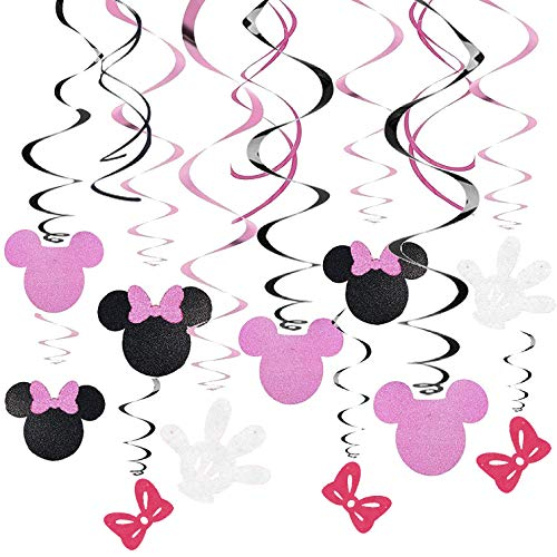 Kristin Paradise 30Ct Minnie Hanging Swirl Decorations - Ceiling Streamers for Mouse Birthday Party – Mini Mouse Theme Party Supplies – Party Favors for Kids - Glitter Pink, Black Decor