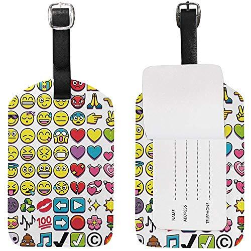Etiqueta de Equipaje Linda Emoji Etiqueta de identificación de Viaje Cuero para Maleta de Equipaje 2 Piezas