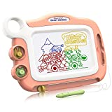 Magna Drawing Doodle Board Present for 3 4 5 6 Year Old Girl,Erasable Magnetic Drawing Board for Boys and Girls with 4 Color Zone and Stamps Birthday Gift for Little Girls Travel Size(Orange)