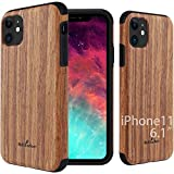 NeWisdom iPhone 11 Wood Case 6.1 inch Wooden Design, Unique Wood Shockproof Protection No Slip Soft with TPU Bumper (Sandalwood)