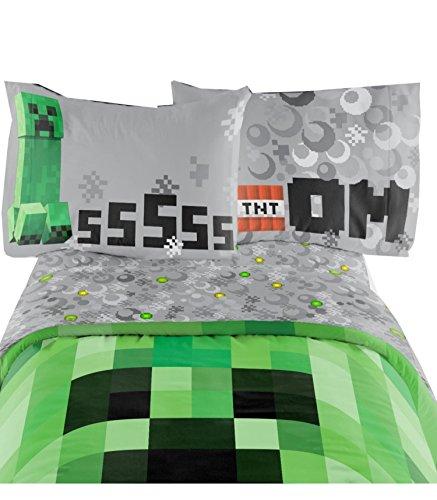 Parure de Lit Multicolore Minecraft pour Enfant Drap de lit simple 167,6 x 243,8 cm