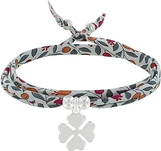 Les Poulettes Bijoux - Bracelet Double Tour Lien Liberty et Trèfle Argent - Classics