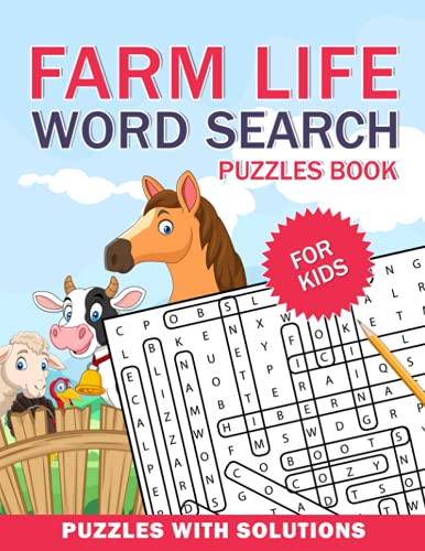 Farm Life Word Search Puzzles Book For Kids: Farm Life Word Search Book for Kids with a Huge Supply and Solutions of Puzzless