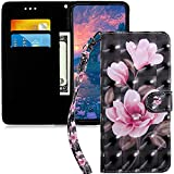 MRSTERUS Compatible with Samsung Galaxy J530 Flip Wallet Case 3D PU Leather Wallet Book Style Magnetic Cover Flip Folio Bracket for Samsung Galaxy J5 2017 Black Pink Flower BX