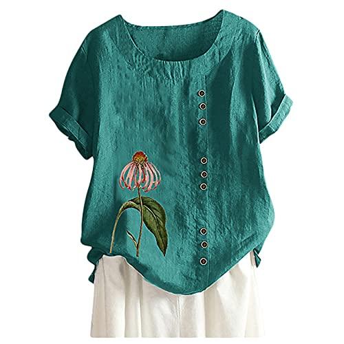 Blusa de manga corta para mujer, cuello redondo, con estampado de flores, suelta, para verano, básica, vintage, túnica, suelta, de lino verde XL