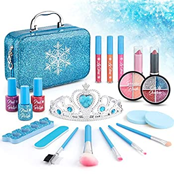 Kids Makeup Kit for Girls Washable Makeup Kit For Little Girls Princess Real Cosmetic Beauty Set Gifts for Toddles Girl Pretend Play Frozen Makeup Set for Girls Toys for 3 4 5 6 7 8 Years Old Girls
